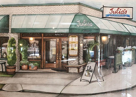 Outside Julia's Restaurant in Seattle, WA - Seattle restaurants near me - Seattle dining near me - to go near me - take out near me - food delivery near me - Seattle restaurants that deliver food near me