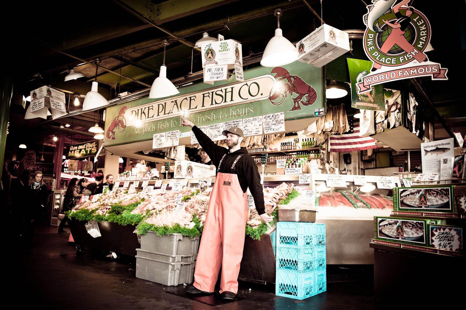 Pike Place Fish Market - Seattle, WA - Pike Place Market - fish - seafood - crab legs - salmon - halibut