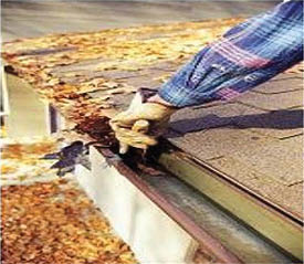 Cleaning leaves from eaves and gutters in Lincolnshire