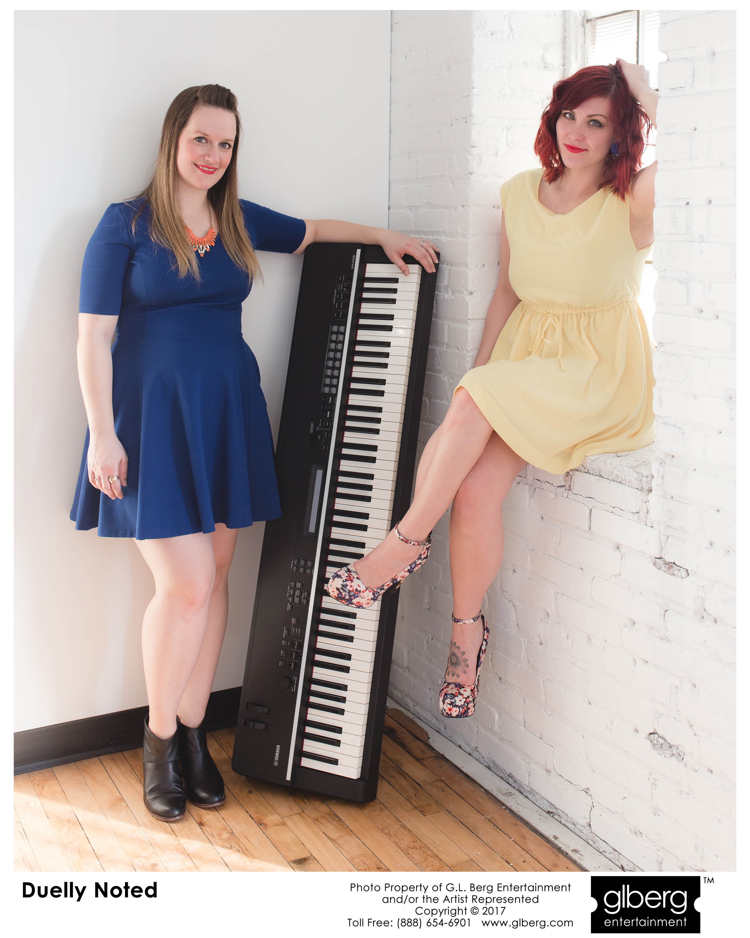 Live piano music from female duo, Duelly Noted