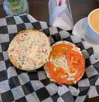 Veggie Cream Cheese and Tomato Bagel from Shayna's Place in Dallas, TX