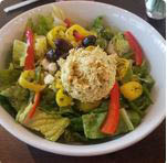 A photo of the best-selling Zorba the Greek with Curried Chicken salad