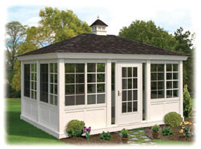 This is our custom garden building which looks great by the pool or overlooking the ocean. it comes with many options for glass & siding. What a great way to get away from the mosquitoes in your yard !!