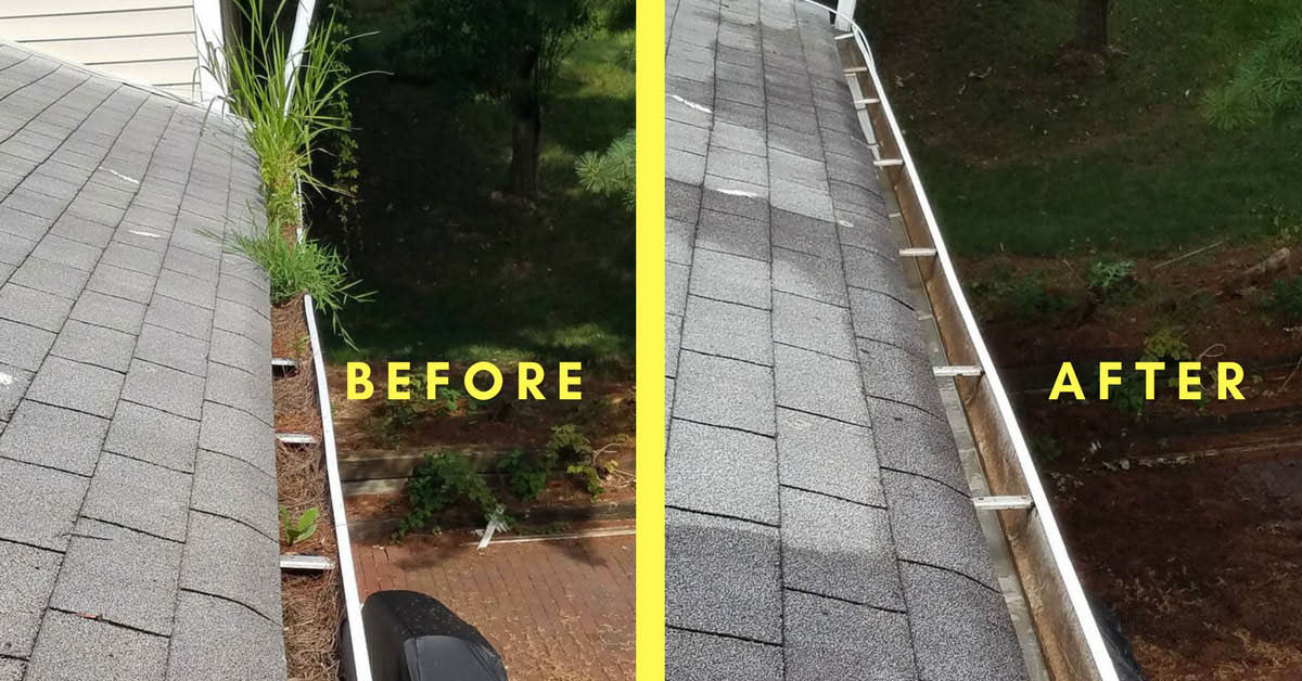 Before and after gutter cleaning photos - gutter cleaning by Shine Power Wash in Kirkland, WA - moss prevention