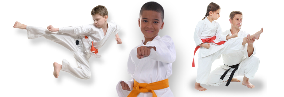 Shotokan Karate Leadership School students, 2 boys. girl and instructor banner