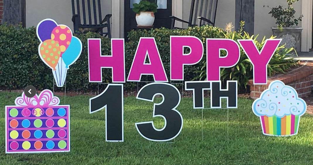 Birthday yard sign with custom graphics