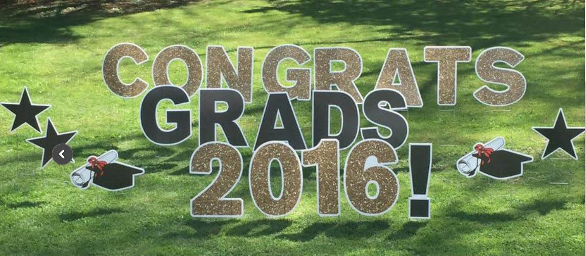 Graduation yard sign with custom school colors