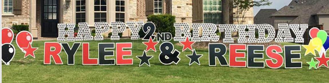 Customizable graphics birthday yard sign