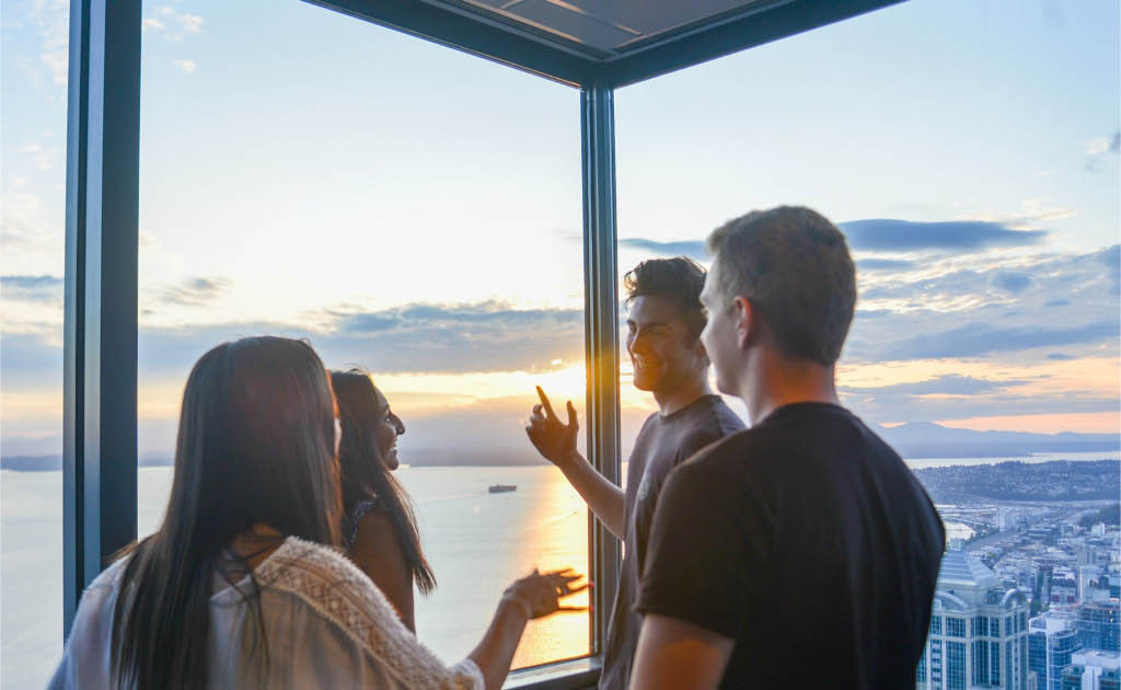 Have fun with friends as you take in the spectacular views of Seattle from the Sky View Observatory - Seattle views - experience Seattle like you never have before - Seattle entertainment coupons near me