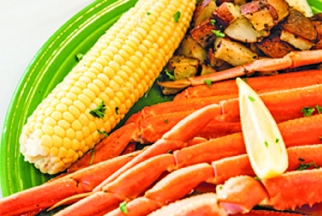 Crab legs and corn on the cob
