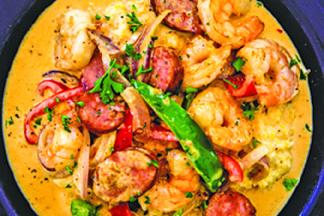 Shrimp and sausage at Southern Comforts Seafood