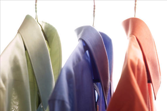 Khaki, Purple and Orange Hanging Garments