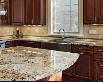 STONE CITY LLC Kitchen remodel granite countertop cherry cabinets