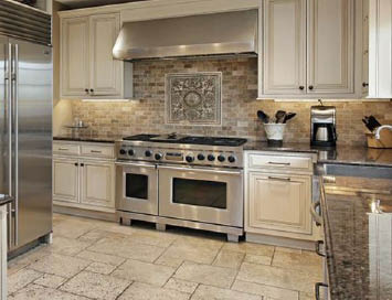 STONE CITY LLC white cabinets stone floor stainless appliances kitchen remodel