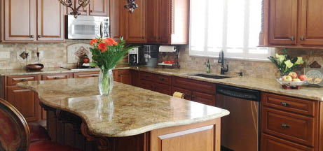 granite countertop on a kitchen island