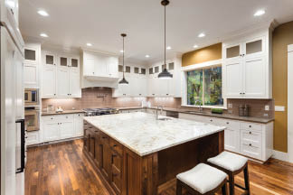 beautiful kitchen with granite countertops
