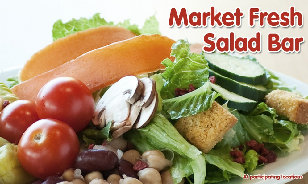 Market Fresh Salad Bar banner; Straw Hat Pizza; fresh salads and salad bar