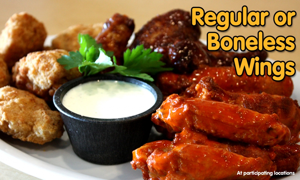 Regular or Boneless chicken wings from Straw Hat Pizza in California