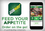 Subway app to order on the go