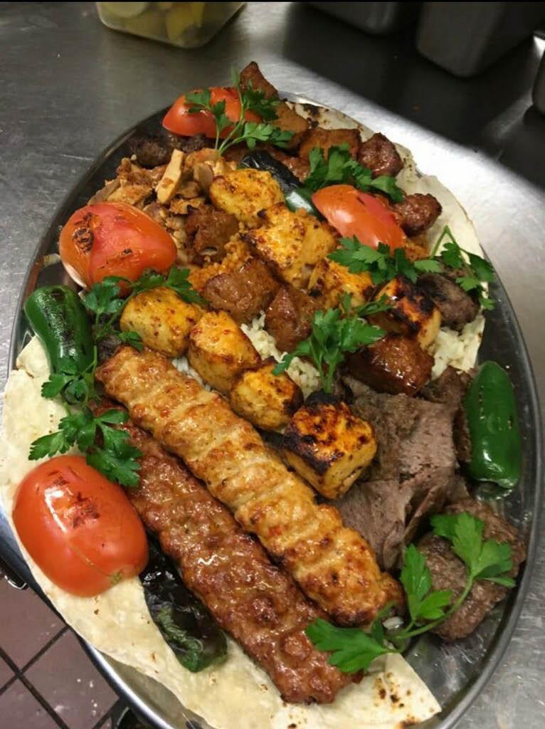 Mixed meat entrees at Sumela Mediterranean, NYC, NY