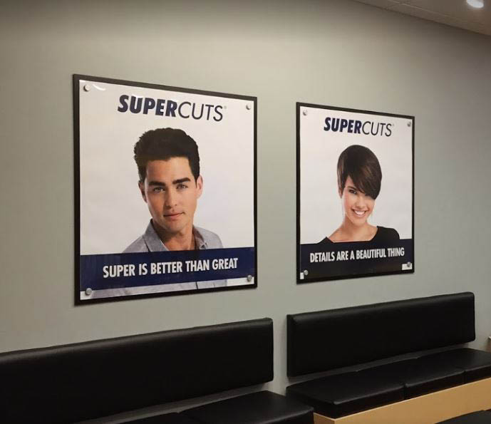 photo of posters inside of Supercuts in Rochester Hills, Troy or Sterling Heights, MI