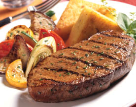 NY Strip steak and vegetables grilled at New Buffet.