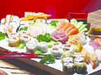 Beautiful sushi tray available at New Buffet in Cicero, Il.