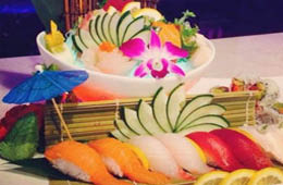 Japanese plated sushi and sashimi near Sarasota