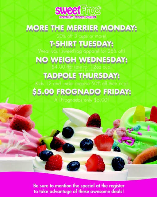 Weekly Specials, Sweet Frog, Frozen Yogurt, FroYo, Ice Cream, Dessert, Food,