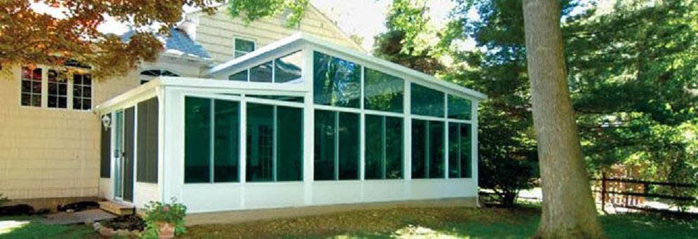 photo of cathedral sunroom from TEMO Sunrooms and Allmaster Home Services in Maryland
