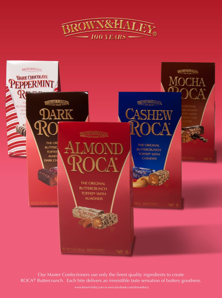 Delicious Almond Roca from Brown & Haley Almond Roca Factory Outlet Stores in Tacoma and Fife, Washington