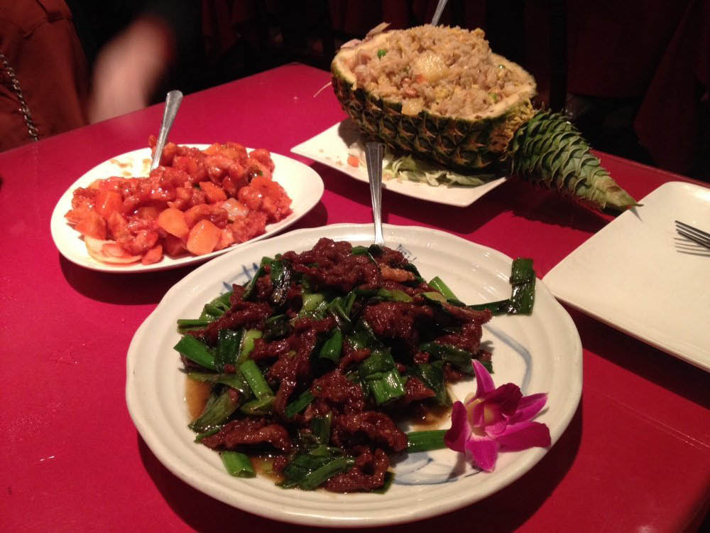 Szechuan beef and Chinese fried rice and vegetables