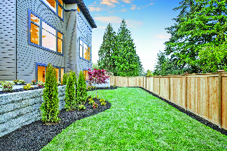 Fenced yard perimeter for privacy