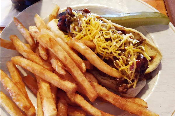 Tavern in the Forest Chili Dog  & fries