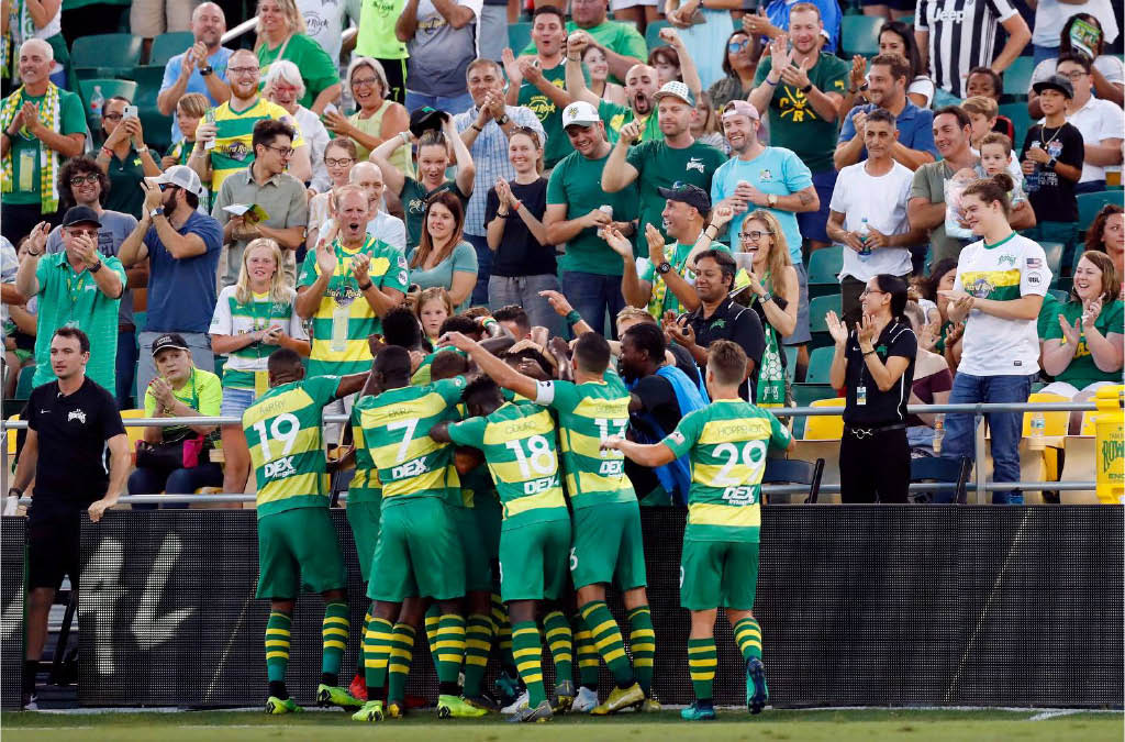 soccer in Tampa Bay; Rowdies on field celebrating