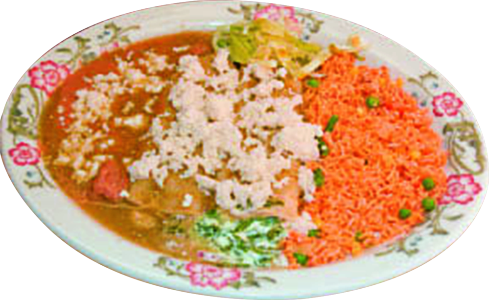 Enchiladas rice and refried beans
