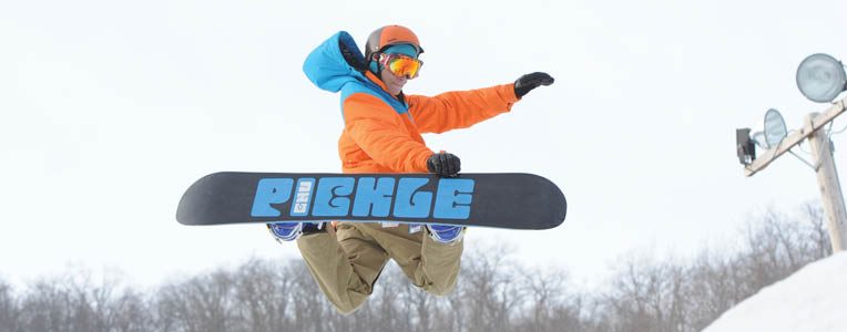 Snowboard in Terrain Park at the Berkshire Mountains, Hillsdale, NY