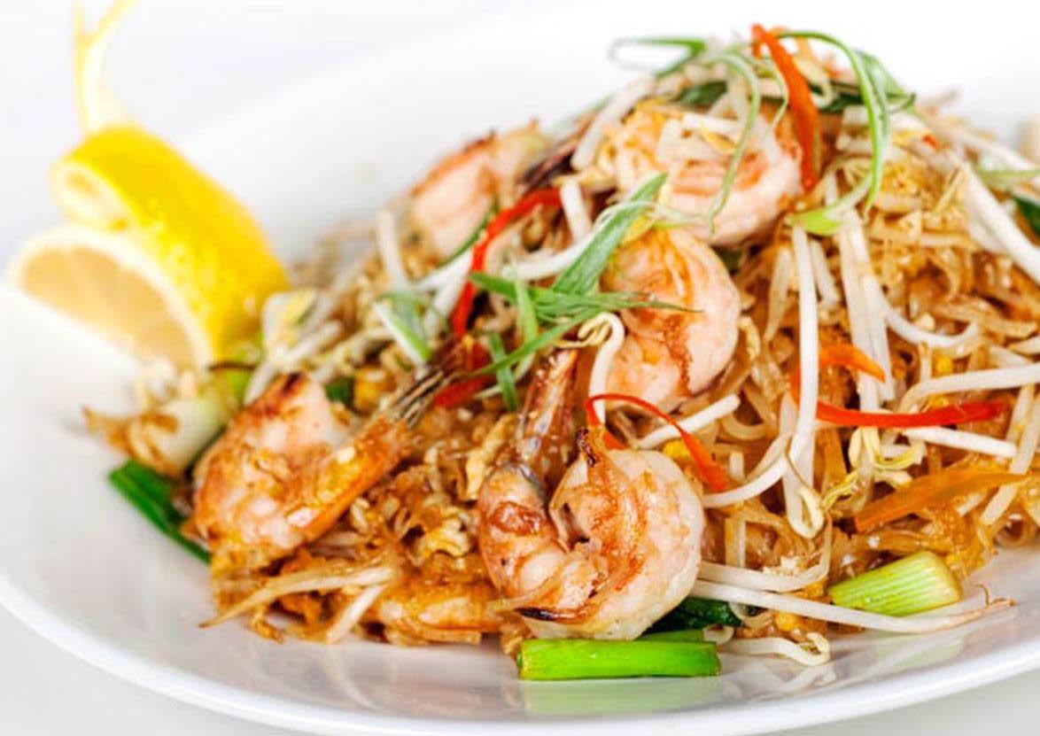 Thai shrimp and noodle dish at Thai House Authentic Thai Food