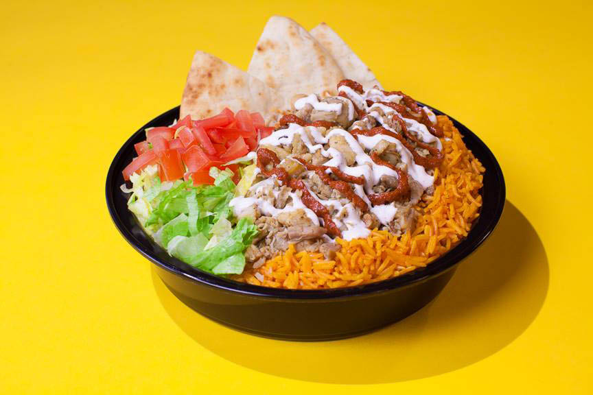 Our famous gyro platter with the white sauce