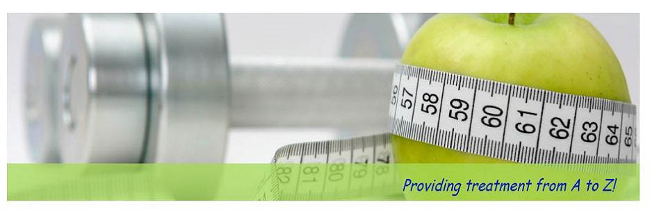 Providing treatment from A-Z, showing dumbbells and an apple with a measuring tape around it