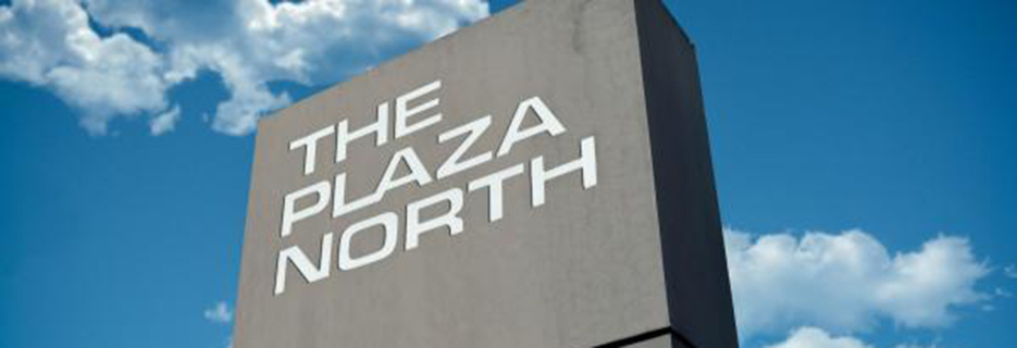 The Plaza North Shopping Center banner Petaluma, CA