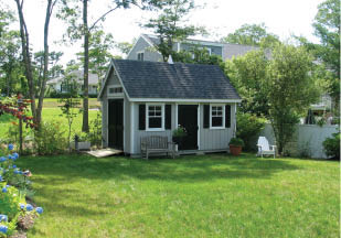 This is a typical yard shed with upgraded siding & double doors for easy access. Also notice the transom lights above the gable end door which allows for a lot of natural light to enter the shed.