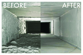 Dirty Ductwork (Before) and Clean Ducts by The Steamers (After) Photos