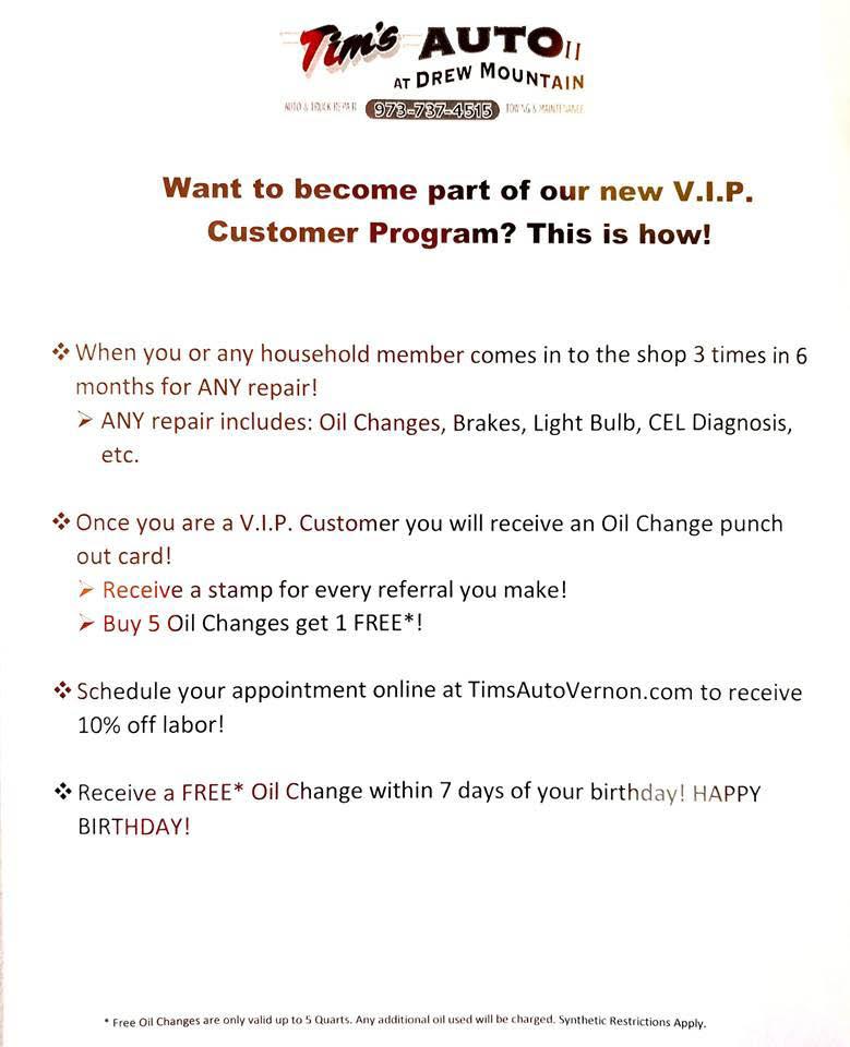 VIP Program by Tim's Auto II at Drew Mountain in Vernon, NJ