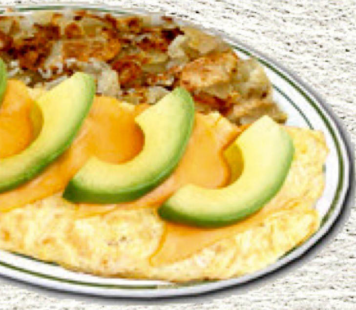An avocado omelet tastes as good at 8am as it does at 8pm