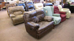 Reclining chairs at Tom's Farms home store in Corona, CA