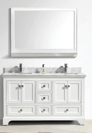 white multi-drawer dual sink vanity with matching vanity mirror from Tona Bathroom Vanity in Upland
