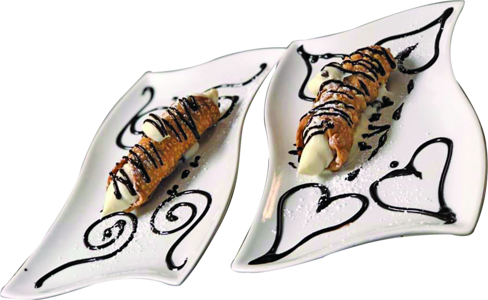 cannoli with chocolate drizzle