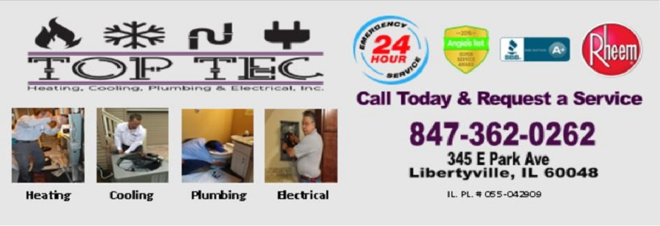 TopTec Heating, Cooling, Plumbing & Electrical in Libertyville, IL banner