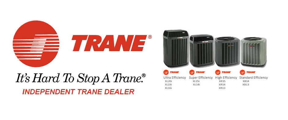 Trane Logo and products for C & J Heating and Cooling serving Chicagoland.